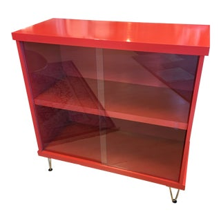 1960s Mid-Century Modern Lacquer Red Cabinet For Sale