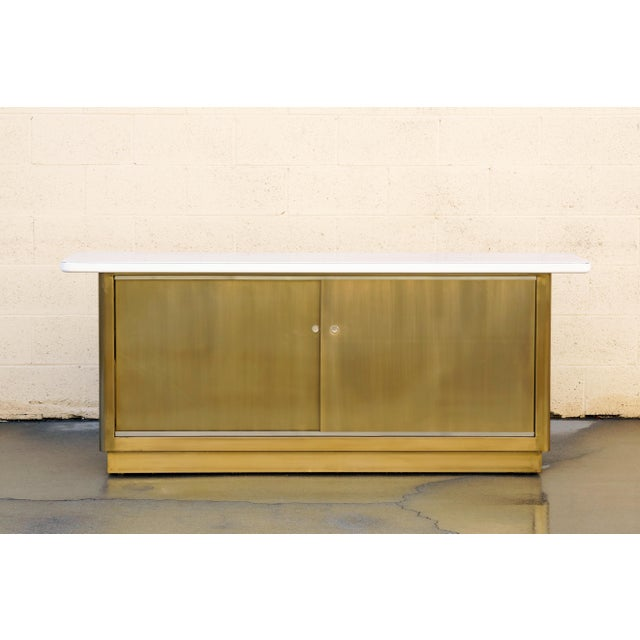 Metal Custom Tanker Style Steel Credenza in Brass and White Finish For Sale - Image 7 of 7