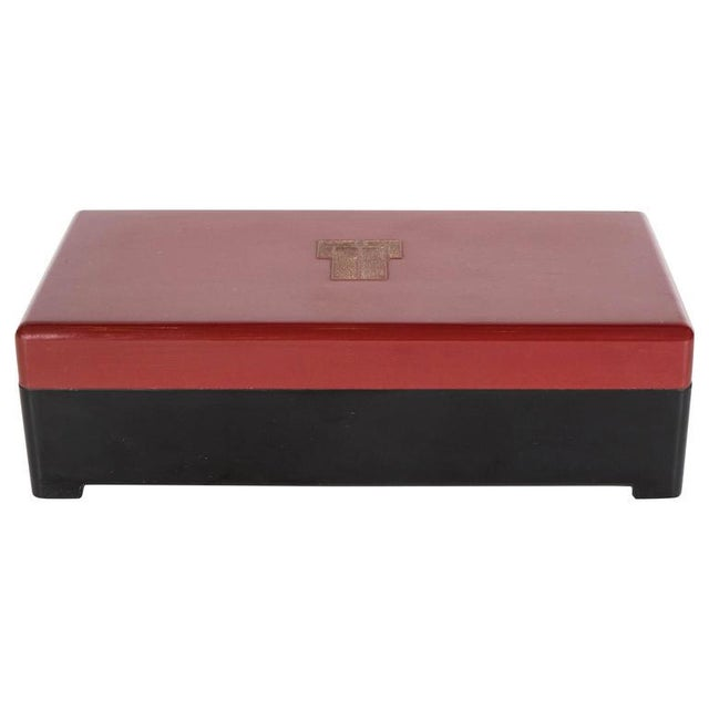 Bakelite Streamlined Art Deco Bakelite Box with Burgundy Top with Cubist Detail For Sale - Image 7 of 7