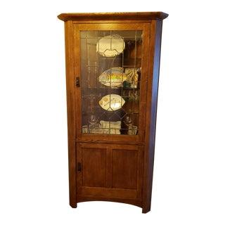 Mission Style Stickley Oak Corner Cabinet For Sale