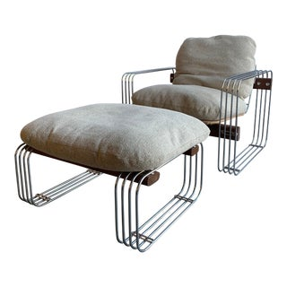 Mid Century Modern Robert Haussmann for Stendig Lounge Chair and Ottoman - 2 Pieces For Sale