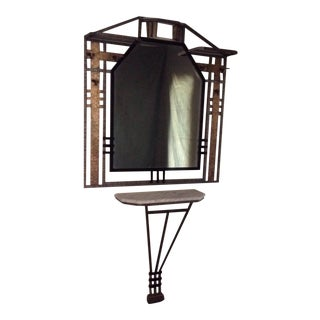 Vintage French Art Deco Coat Rack/Console With Mirror - 2 Pieces For Sale