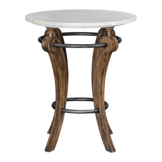 Transitional Marble Top Accent Table For Sale