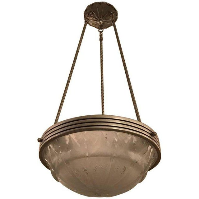 French Art Deco Geometric Chandelier Signed by Muller Frères Luneville For Sale - Image 11 of 11