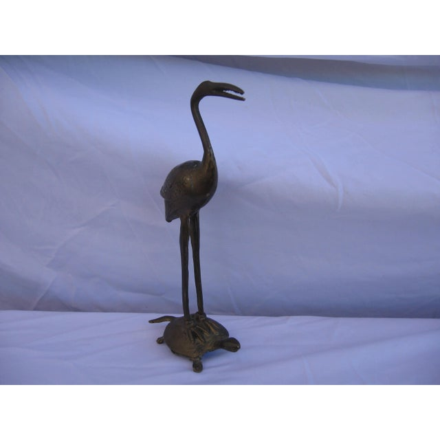 Asian Brass Crane and Turtle Figure For Sale - Image 3 of 6