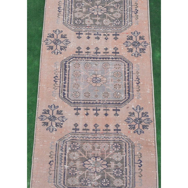 """Textile Distressed - Faded Oushak Rug Runner Stunning Kitchen Decor - 2'11"""" x 11'7"""" For Sale - Image 7 of 10"""