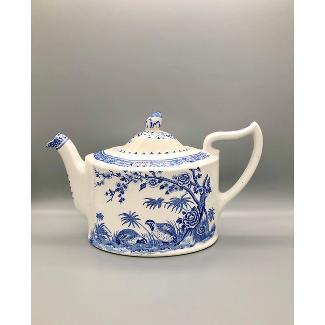 Furnivals quail pottery in blue and white remains one of the most popular patterns for collectors. This three-piece set...