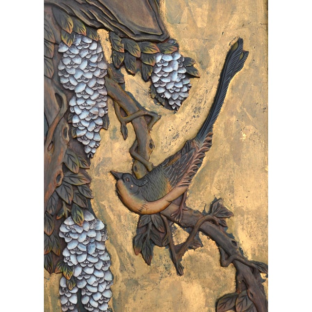 Asian Chinese Lacquered Carved Wood Panel Pair For Sale - Image 3 of 7