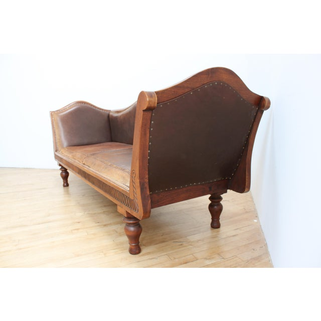 1970s Mahogany Chippendale Bench Sofa - Cape Buffalo Leather For Sale - Image 5 of 12