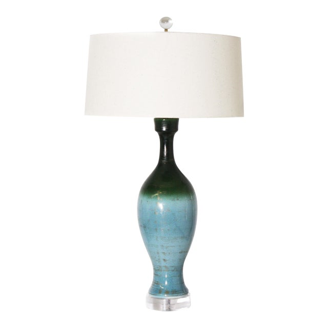 Ombre Glaze Urn Lamp, C. 1960 For Sale