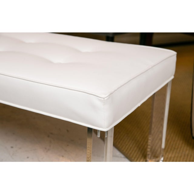 Mid-Century Lucite Tufted White Vinyl Bench For Sale In New York - Image 6 of 6