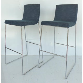 Contemporary Stainless Steel Upholstered Bar Stool - Per Item Preview