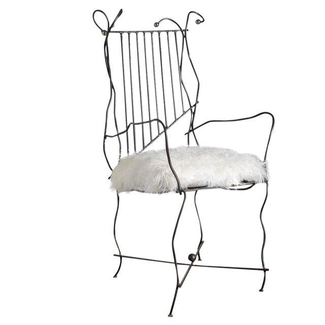 Italian Hand Made Modern Metal Chair Rare For Sale