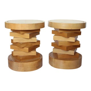 Mid-Century Wood & Travertine Side Tables - A Pair