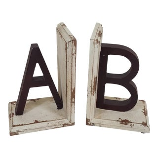 "Wooden Bookends With Letters ""A"" and ""B"" - a Pair For Sale"