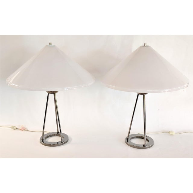 1970s Vintage Van Nessen Chrome and Lucite Table Lamps - A Pair For Sale - Image 4 of 13