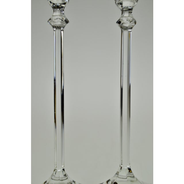 Glass Vintage Glass Candlesticks - a Pair For Sale - Image 7 of 12
