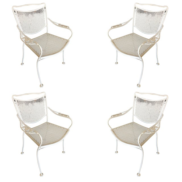 White Woodard Company Mesh Outdoor/Patio Chair With Leaf Pattern Arms - Set of 4 For Sale - Image 8 of 8