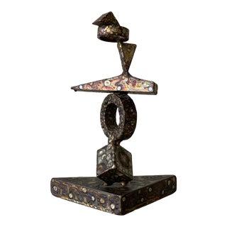 Vintage Signed George Kafka Brutalist Steel Sculpture, Circa 1973 For Sale