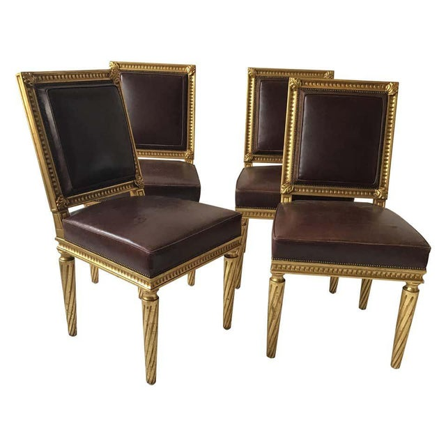 French Style Louis XVI Giltwood/ Leather Dining Chairs- Set of 4 For Sale - Image 13 of 13