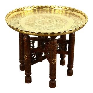 Moorish Brass Tray Side Table