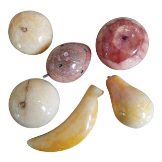Italian Marble Carved Fruit, 6 Pieces For Sale