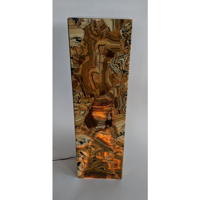 Gemstone 1970s Muller of Mexico Modern Lighted Onyx Pedestal For Sale - Image 7 of 11