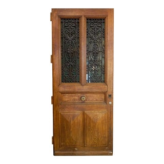 Late 19th Century Ornate Antique Oak Door For Sale
