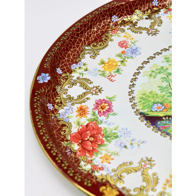 Late 19th Century Vintage Chinoiserie Tole Floral Red and Gold Circular Tray For Sale - Image 5 of 12