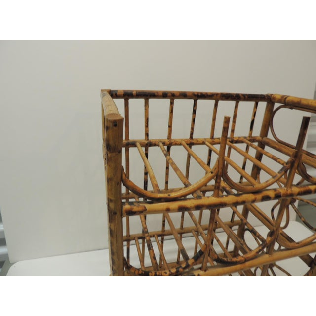 1980s Vintage Faux Tortoise Bamboo Wine Rack For Sale - Image 5 of 7