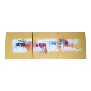 Abstract Memphis Post Modern 3 Panel Triptych Paintings by Mendini Sottsass For Sale