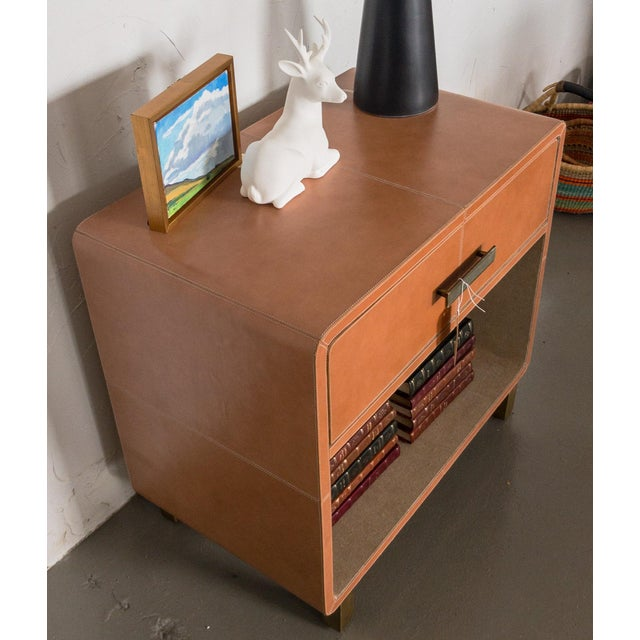 Made Goods Dante Double Nightstand in Aged Camel Leather For Sale - Image 11 of 13