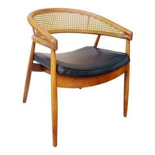 Mid Century Modern James Mont Style Cane Back Chair For Sale