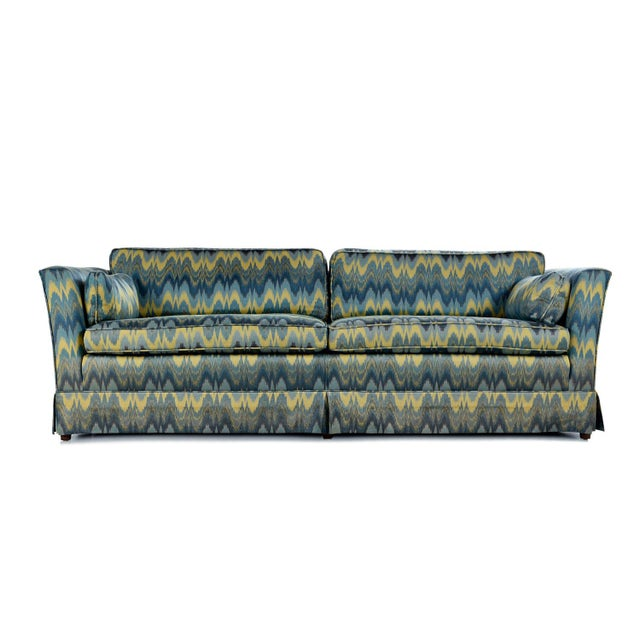 Textile Chevron Fabric 1970s Baker Sofa Loveseat Sofa Set For Sale - Image 7 of 13
