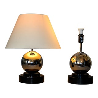 Modern Van Teal Chrome Ball Table Lamps - Pair For Sale