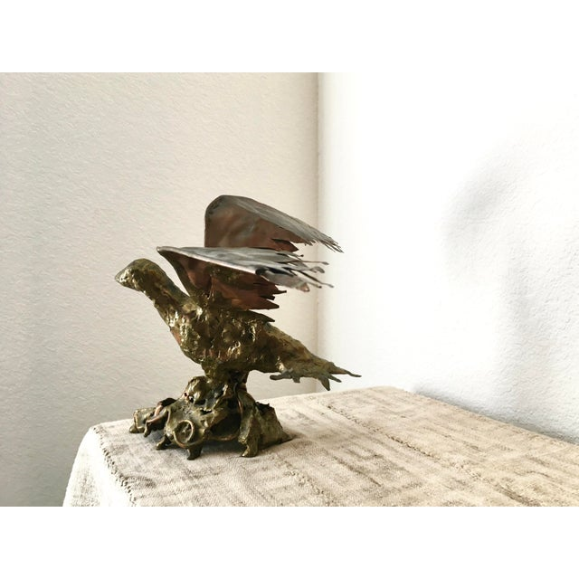 Brutalist Copper & Bronze Flying Bird Sculpture - Image 6 of 8