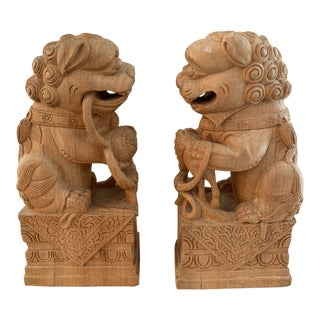 Hand Carved Wooden Chinoiserie Foo Dogs- a Pair For Sale