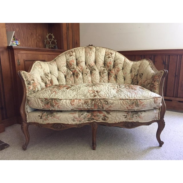 French Country Louis XV Style Carved Walnut Silk Settee & Chair - A Pair - Image 3 of 11