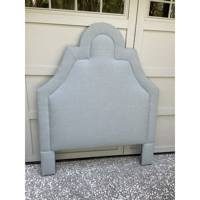 Brand new, beautiful full/double headboard with scallop detail upholstered in blue/grey linen fabric. This headboard was...