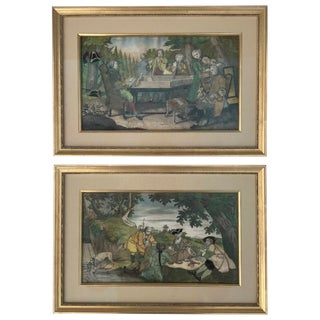 18th Century French Hand Colored Engravings - a Pair For Sale