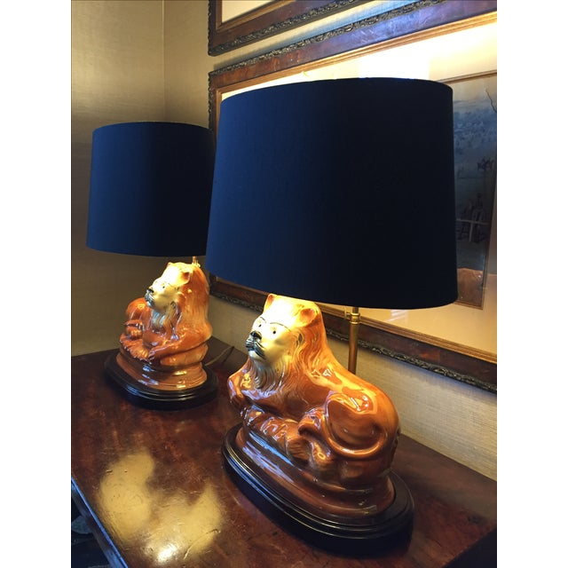 English Staffordshire Style Ceramic Lion Lamps - a Pair - Image 4 of 5