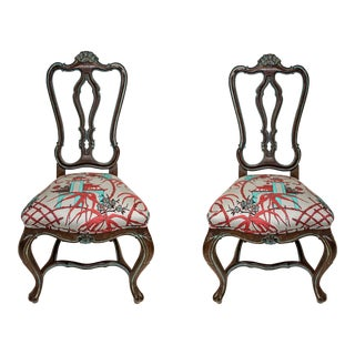 Pair of French Style Chairs in Chinoiserie Toile