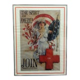 "Image of Vintage Mid-Century ""The Spirit of America - Join"" Howard Chandler Christy Framed Red Cross Print For Sale"