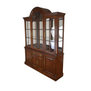Pennsylvania House Solid Cherry Arch Top Lighted Curio China Cabinet Breakfront (B) For Sale