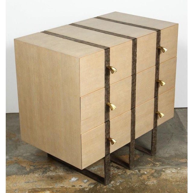 Paul Marra Paul Marra Three-Drawer Banded Chest in Bleached Douglas Fir and Inset Iron Band For Sale - Image 4 of 10