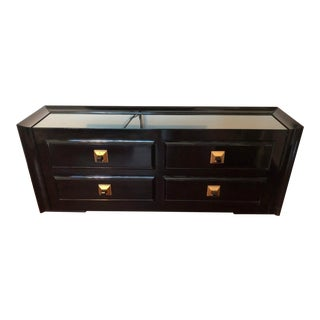 Mid-Century Modern James Mont Signed Black Lacquer Dresser For Sale