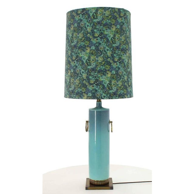 Table Vintage Mid Glassed Turquoise Pottery Brass Blue Base Lamp Century qSULzMpGV
