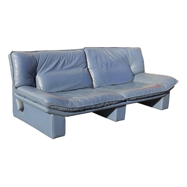 Italian 1970's Modern Nicoletti Salotti Leather Sofa and Lounge Chair- 2 Pieces For Sale - Image 3 of 13