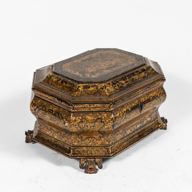 Early 19th Century Chinese Export Lacquer Box on Carved Feet For Sale - Image 4 of 6