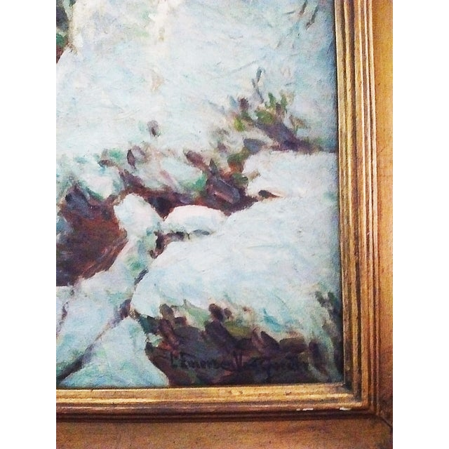 This remarkable oil on canvas painting depicts a gentle brook in a winter wooded enclosure. It's one of two known works...